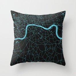 Black on Turquoise London Street Map Throw Pillow