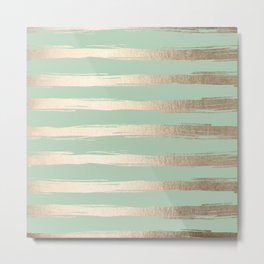 Simply Brushed Stripes White Gold Sands on Pastel Cactus Green Metal Print