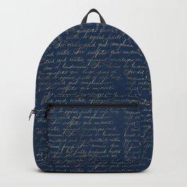 Gold Script on Navy Backpack