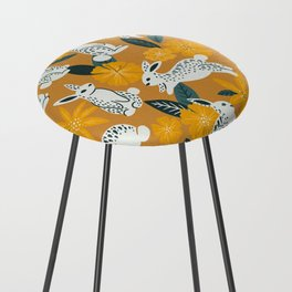Bunnies & Blooms - Ochre & Teal Palette Counter Stool