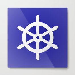 Ship Wheel (White & Navy Blue) Metal Print