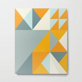 Geometric Triangle Pattern in Ocean Blue and Sunset Orange Metal Print