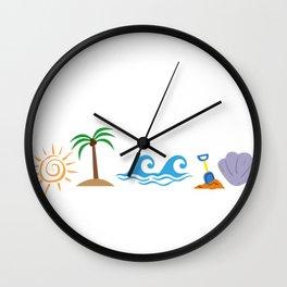 sun palm trees waves sand seashells Wall Clock