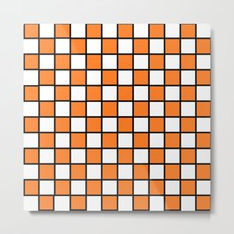 Checkered Outlined Orange and Black Metal Print