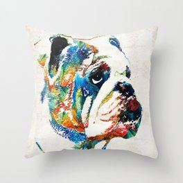 Bulldog Pop Art - How Bout A Kiss - By Sharon Cummings Deko-Kissen