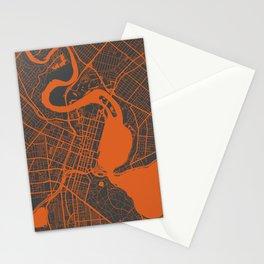 Perth map orange Stationery Cards