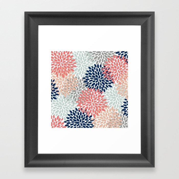 Floral Bloom Print, Living Coral, Pale Aqua Blue, Gray, Navy Gerahmter Kunstdruck