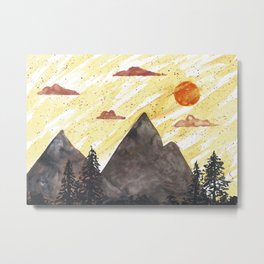 Colorful watercolor of a minimalistic landscape at sunset Metal Print