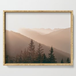Sunset in the Mountains | Warm Colors | Landscape Photography Alps | Print Art Serving Tray