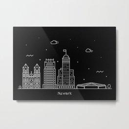 Newark Minimal Nightscape / Skyline Drawing Metal Print