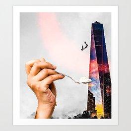 Trippy Collage Art Building Falling Art Print