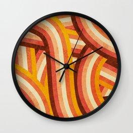 Vintage Orange 70's Style Rainbow Stripes Wall Clock