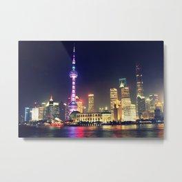 Shanghai Cityscape At Night Metal Print