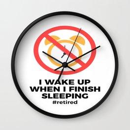 Retired No Alarm Clock Retirement Funny Wall Clock