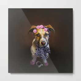 Curlers and Coffee and Puppy Dog Eyes Metal Print