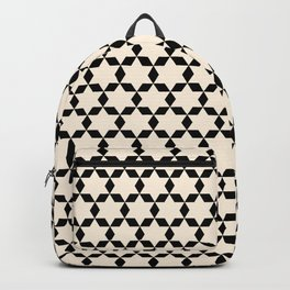 Star Tiles Geometric Pattern in Almond Cream and Black Backpack