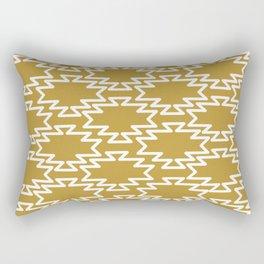 Southwest Azteca - Minimalist Geometric Pattern in White and Golden Mustard Rectangular Pillow
