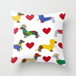 Cute Dachshund Dogs with Red Hearts Throw Pillow