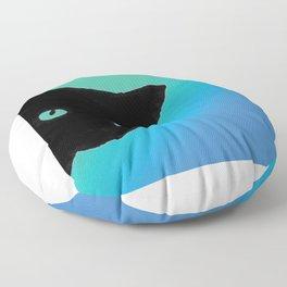 Black Cat Blue Green Floor Pillow