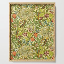 William Morris Calla Lilies, Tulips, Daffodils, & Red Poppies Textile Print Serving Tray