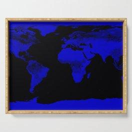 worlD Map Blue & Black Serving Tray