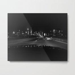 NYC Night Manhattan Skyline Photograph Black and White Metal Print