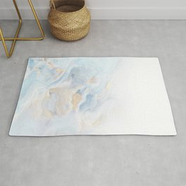 Liquid Marble Ombre blue, white, gold Rug