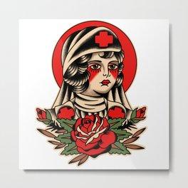 Traditional Nurse Tattoo Metal Print