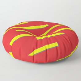 Bright Red and Bright Yellow Graphic Design Floor Pillow