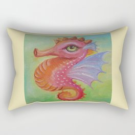 Baby Dragon Sea Horse Ice Cream color book illustration for kids Oil painting on canvas Pastel color Rectangular Pillow