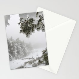 """""""Snowy forest"""". At the foggy mountains... Stationery Cards"""