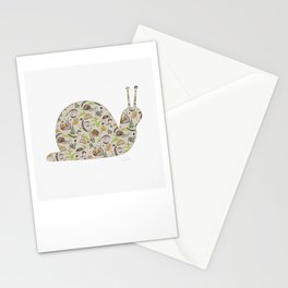 Woodland Snail in Watercolor Fungi Forest, Moss Green and Ochre Earth Animal Pattern Stationery Cards