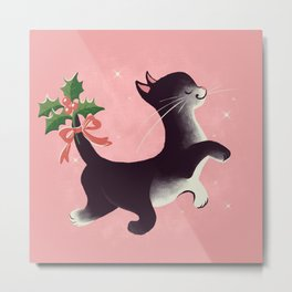 Holly Jolly Vintage Holiday Kitty Cat Cutie Metal Print