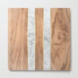 Striped Wood Grain Design - White Marble #497 Metal Print