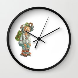 Cute fallout character - little mulatto girl on the rollers Wall Clock