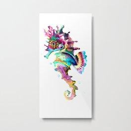 Seahorse , multi colored sea world animal art, design, cute animal art beach Metal Print