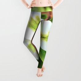 White & Green Trillium Leggings