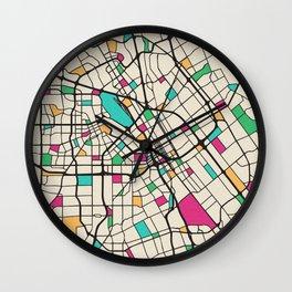 Colorful City Maps: San Jose, California Wall Clock