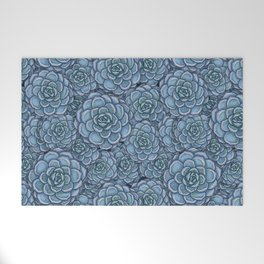 Blue Succulent Pattern Welcome Mat