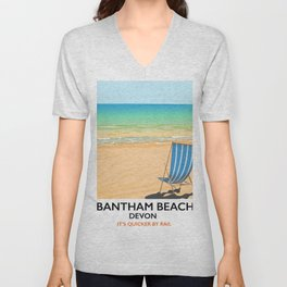 Bantham beach Devon seaside poster Unisex V-Neck