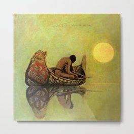 """N C Wyeth Vintage Western Painting """"Fishing Line"""" Metal Print"""