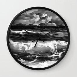 stormy sea waves reacbw Wall Clock