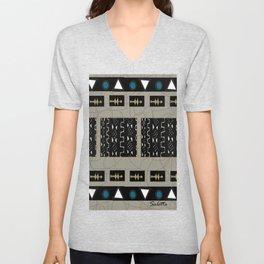 Black, Blue, White, Gold Ethnic Contemporary Geometric Pattern by Saletta Home Decor Unisex V-Neck