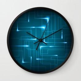 Blue Neon Circuit Board Design Wall Clock