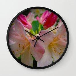 Pink Azalea Flowers Wall Clock