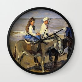 Isaac Lazarus Israels - Boy And Girl Riding Donkeys - Digital Remastered Edition Wall Clock