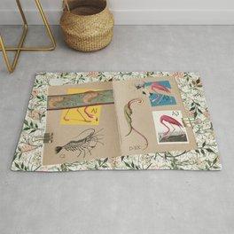 ornithology notebook - flamingo Rug