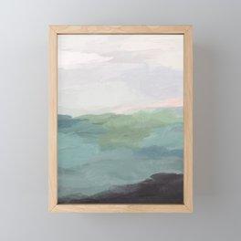 Seafoam Green Mint Black Blush Pink Abstract Nature Land Art Painting Art Print II Framed Mini Art Print