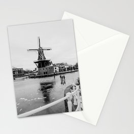 Iconic mill 'The Adrian' IV in black and white in Haarlem alongside a frozen Spaarne canal | Ice skating | Reflections | Architectural fine art print Stationery Cards