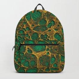 Dark Spring Green Gold Marble Backpack
